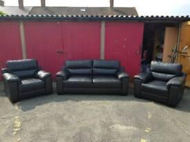 Leather Sofa, 3 Piece suite.