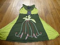 Size 10 Lime and olive cotton dress barely worn