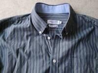 James Aubrey Heritage shirt, grey and green stripes, size XL