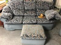 Blue floral patterned 3 piece suite - £60
