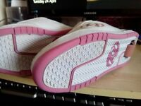 Girls Heelys. Pink and white, UK size 4 - worn once