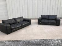 Black 3 and 2 Italian leather sofa/couch/suite CAN DELIVER