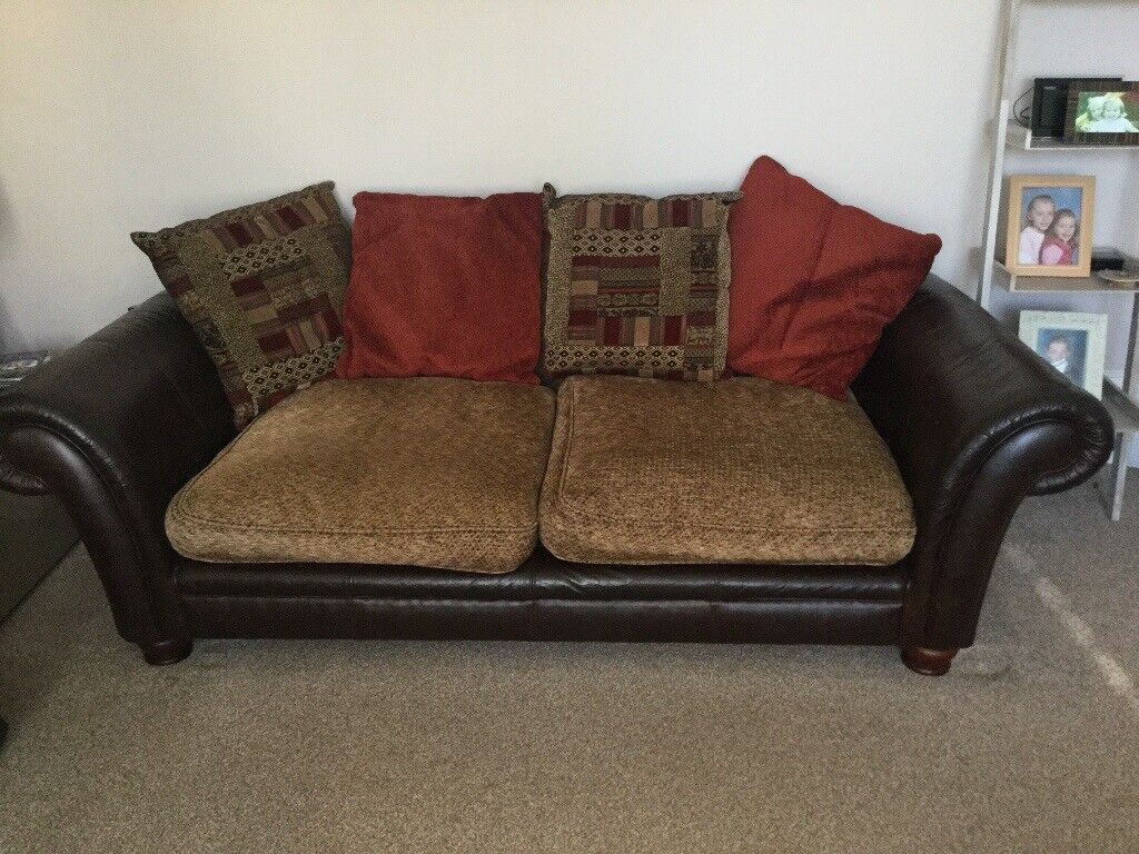 3 Seater Dfs Sofa Leather And Fabric Matching Chair Avail