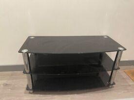 black glass large tv unit