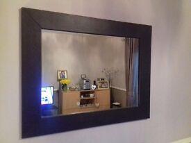 Dark Brown leather effect mirror