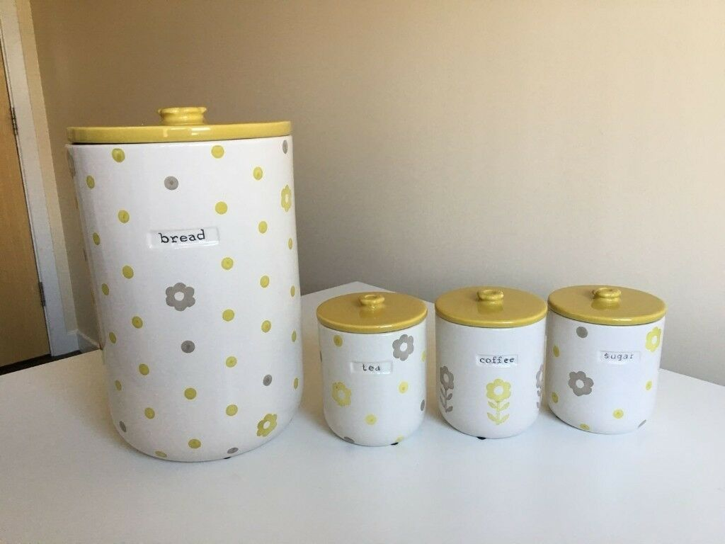Bread Bin & Tea Coffee Sugar Canisters from Next