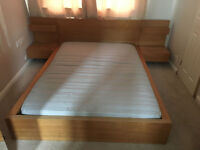 IKEA MALM KING SIZE OAK VENEER BED FRAME, IKEA MATTERASS AND SIDE TABLES