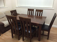 Solid Oak 140-180 cm Extending Dining Table and 6 Chairs