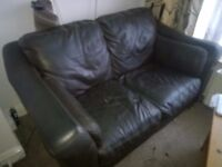 2x Leather two seater Sofas, Free to collector.