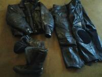 motorbike leather jacket 2 trousers and boots