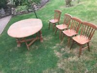 Pine farmhouse solid drop leaf table and 4 solid pine farmhouse chairs