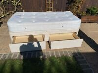 """3ft 6"""" single divan bed with mattress, only 18 months ago. Base has 2 drawers"""