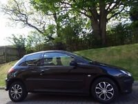 Bargain-P/X! (2005) PEUGEOT 206 S HDi 3dr BLACK- MOT 1 YR- FSH- Low Mileage- Cheap Road TAX- 60+ MPG