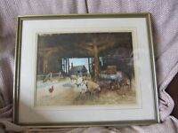 WATERCOLOUR SHEEP IN A BARN BY NEIL WESTWOOD & SIGNED IN PENCIL FRAMED & IN GOOD CONDITION £65
