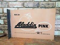 Vintage Double Sided Aladdin Pink Pariffin Enamel Advertising Sign