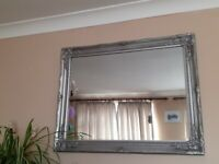 Large, Silver Antique Ornate mirror