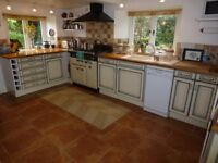 Kitchen cabinets and a french style dresser for sale, plus sink, worktop and taps