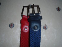 2 ELASTICATED BELTS, BRAND NEW, 1 RED and 1 BLUE with SILVER BUCKLE, £4 EACH