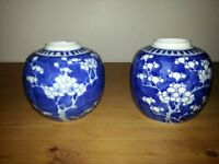 PAIR OF BLUE AND WHITE VASE