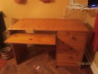 Pine Desk with pullout keyboard shelf £15
