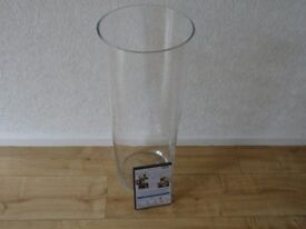 enormous 25.5 inch high - very tall clear glass vase - flower arranging vase