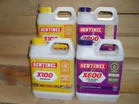 SENTINEL X100/X800 CENTRAL HEATING INHIBITOR AND CLEANER 2 OF EACH CHEAP AT £50