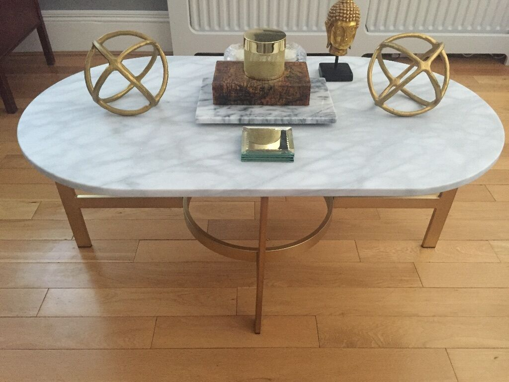 West Elm Solid Marble Coffee Table Brass Antique Gold Legs AS NEW - Marble coffee table gold legs