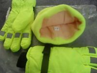THINSULATE THERMAL INSULATION GLOVES & HAT, HI VIZ, FLEECED LINED