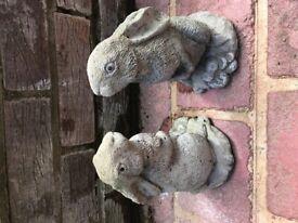 2 rabbit/hare garden ornaments