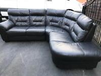 📣 Luxury black leather ~ corner Sofa ~ Suite