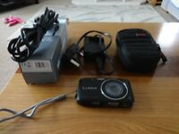 Panasonic Lumix DMC-S2 compact digital camera with charger, USB lead, memory card & case
