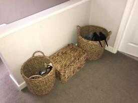 Various straw/jute/bamboo wicker and natural fibre Next baskets