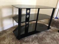 Glass TV stand black