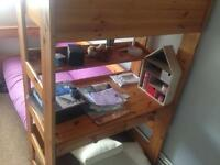 Bunk bed with desk pull out small double