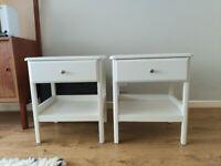 2 white IKEA bedside tables