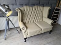 Cream Leather Chesterfield 2-Seater Sofa (Two-Seater) (Delivery Available)