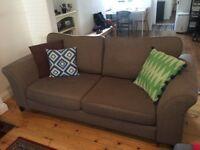 Three seater fabric sofa, nutmeg colour, foam cushions
