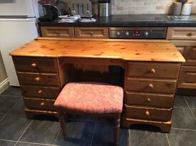 Large Ducal pine dressing table and stool