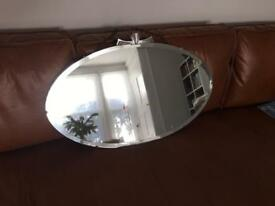 Vintage retro oval wall mirror