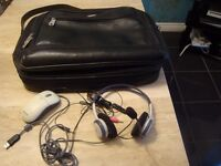 Laptop bag, mouse and headphone