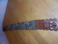 Retro leopard print ladies belt & black belt