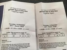 2 tickets for Michael Ball & Alfie Boe Together Again Concert at The O2 on 14/12/17