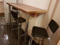 3x IKEA BAR STOOLS AND DINING TABLE