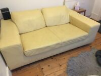 Pale Yellow Leather Sofa - £100 or best offer