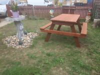 LARGE HEAVY DUTY WOODEN GARDEN/ PICNIC BENCH £50