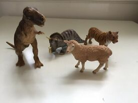 4 Schleich Figures T Rex, Sheep, Tiger and Triceratops