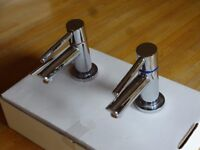 Bathroom sink taps. Single taps chrome hot and cold with 1/4 quarter turn levers