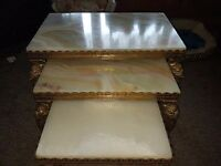 Onyx And Brass Nest Of 3 Tables