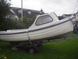 Shetland 15 fisherboat with cuddy & trailer £1850.