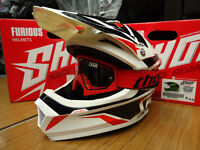 New Kids Youth M 51-52cm Shot Furious MX Helmet & Red Thor Goggles Black/Red